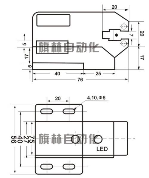 槽型光电开关,u型光电传感器尺寸图